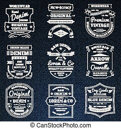 Denim jeans typography logo emblems set - Classical blue...