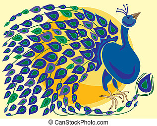peacock - hand drawn illustration of a peacock with colorful...