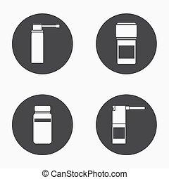 Vector modern medical kit icons set on white background