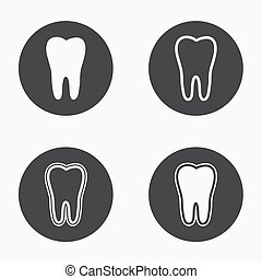 Vector modern tooth  icons set