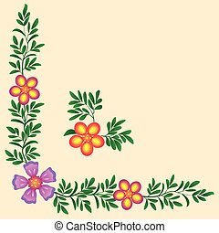 floral corner frame decoration for a textile, vector