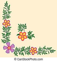 floral corner frame decoration for a textile, vector