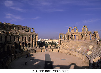 Roman coliseum- Tunisia - Ruins of the 3rd century Roman...