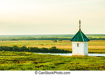 Little chapel with beautiful landscape in Konstantinovo,...
