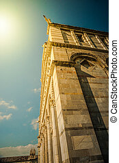 Cathedral in Pisa, Italy - Detail of the facade of Cathedral...