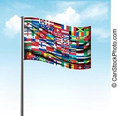 World flags on a big flag Vector