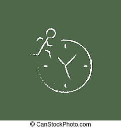Time management icon drawn in chalk - Time management hand...