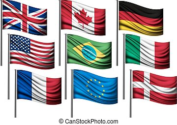 Nine different flags of major countries.