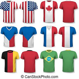 Set of different T-shirts with prints of world flags. Includes a white T-Shirt transparent template for your own design.