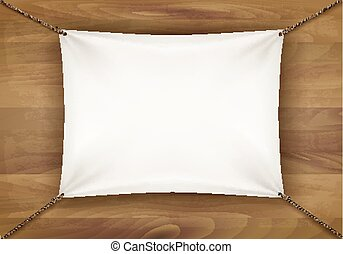 White cloth banner with text space on wooden background