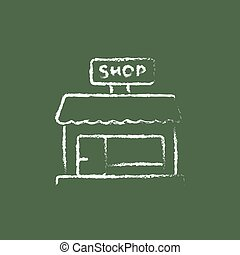 Shop store icon drawn in chalk.