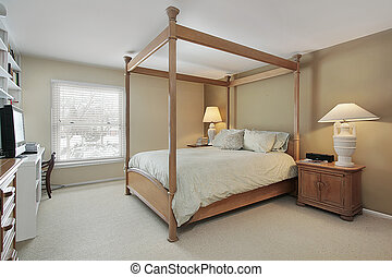 Master bedroom with wood frame