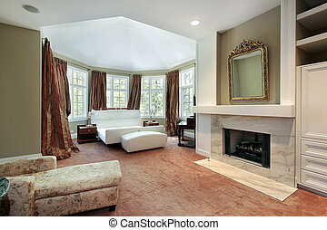 Master bedroom with fireplace - Master bedroom in luxury...