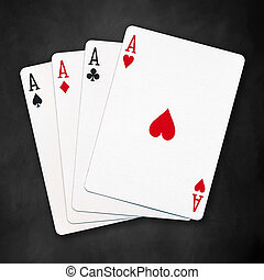 four aces - A winning poker hand of four aces playing cards...