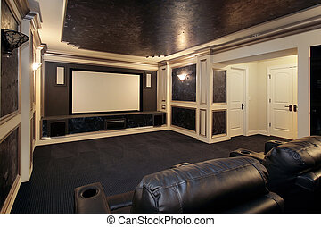 Luxury theater room - Theather room in luxury home with...