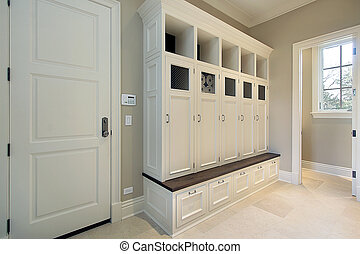 Mudroom with lockers - Mudroom in new construction home with...