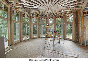 Luxury home under construction with round ceiling