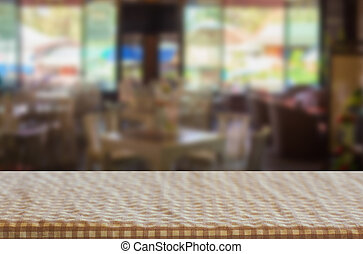 Checkered table cloth on empty table for Your photomontage...