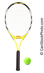 Tennis Racket and Ball - This is a close-up of a tennis...