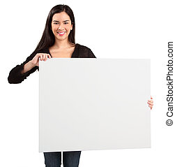 Young Woman Holding a Blank White Sign