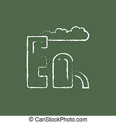 Refinery plant icon drawn in chalk. - Refinery plant hand...