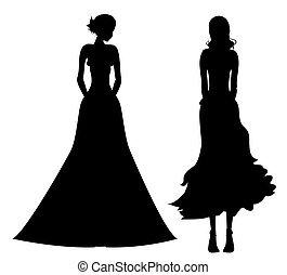 female silhouette - drawing of black female in a white...