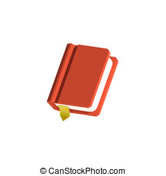 Low-poly red orange book