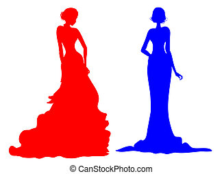 noble female silhouette - drawing of female silhouette in a...