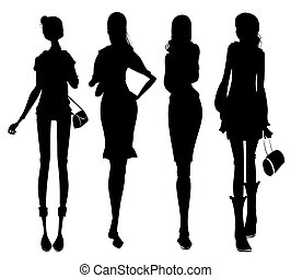 Business female silhouette - drawing of business female...