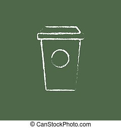 Disposable cup icon drawn in chalk. - Disposable cup hand...