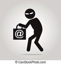 Hacker, thief icon illustration - Hacker, Internet security...