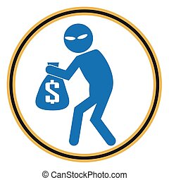 Beware pickpocket sign, thief icon illustration - Beware...