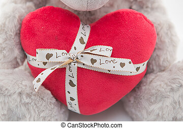 Grey teddy bear - White teddy bear doll holding heart shaped...
