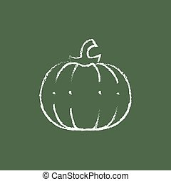 Pumpkin icon drawn in chalk - Pumpkin hand drawn in chalk on...