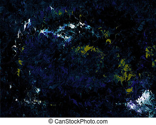 Blue Green Flames - Blue, green, and gray on a black...