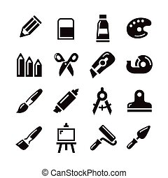 Art supply icon - Various art supply icon in white...