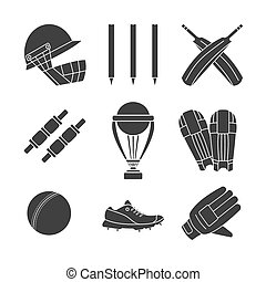 Cricket game vector concept. - Set of cricket game equipment...