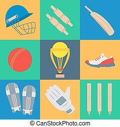 Cricket game vector concept. - Cricket game equipment, flat...