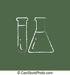 Test tubes icon drawn in chalk. - Test tubs hand drawn in...