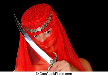 Harem Girl - Beautiful arabian style dancer with red veil...