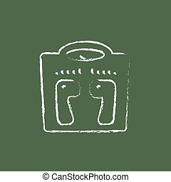 Weighing scale icon drawn in chalk.