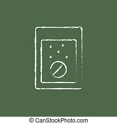 Tablet into a glass of water icon drawn in chalk - Tablet...