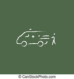 Man with patient and ambulance car icon drawn in chalk - Man...