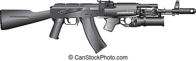 russian machine gun AK-74 GP25 - isolated vector...