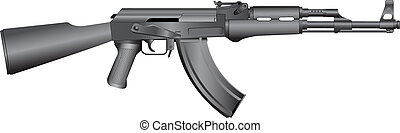 russian machine gun AK-47 - isolated vector illustration of...