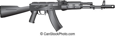 russian machine gun AK-74 - isolated vector illustration of...