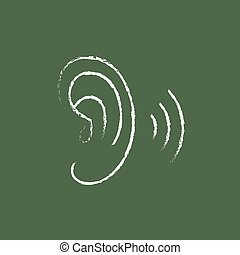 Human ear icon drawn in chalk - Human ear hand drawn in...