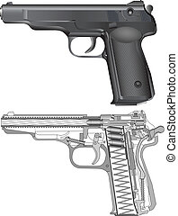 Russian gun APS - Detailed russian pistol scheme isolated on...