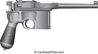 Old gun - Detailed vector illustration.Isolated on white
