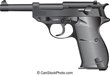 Old german gun HP-38 - Detailed vector illustration.Isolated...